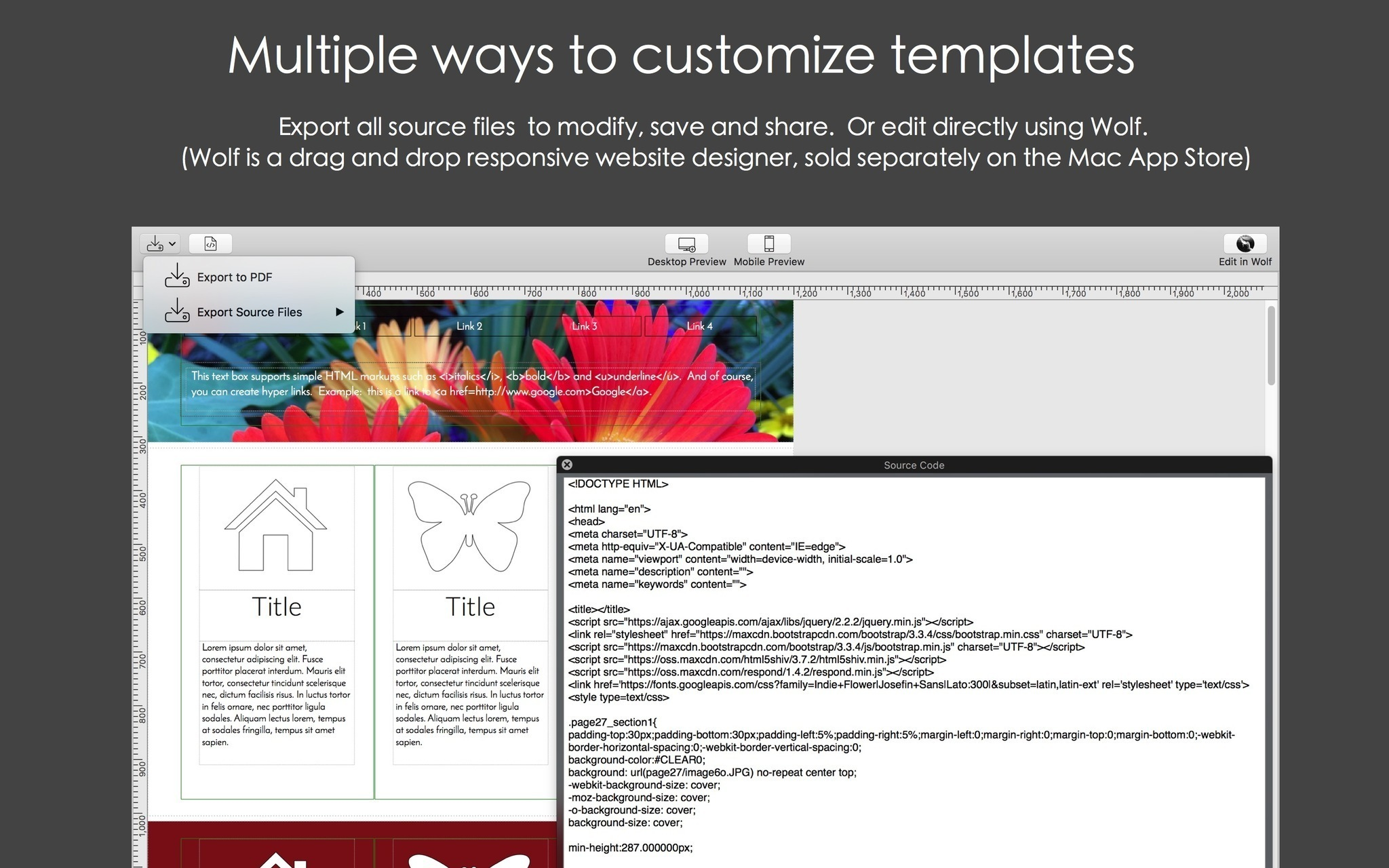 Screenshot 4 for Mobile Web Page Templates
