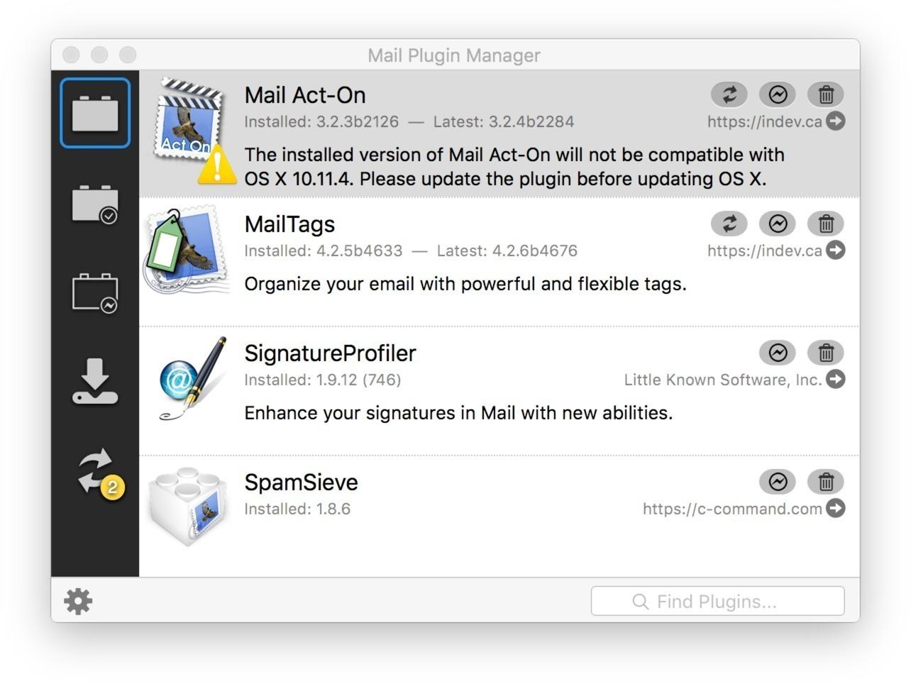 Screenshot 1 for Mail Plugin Manager