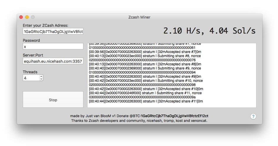 Screenshot 1 for Zcash Miner