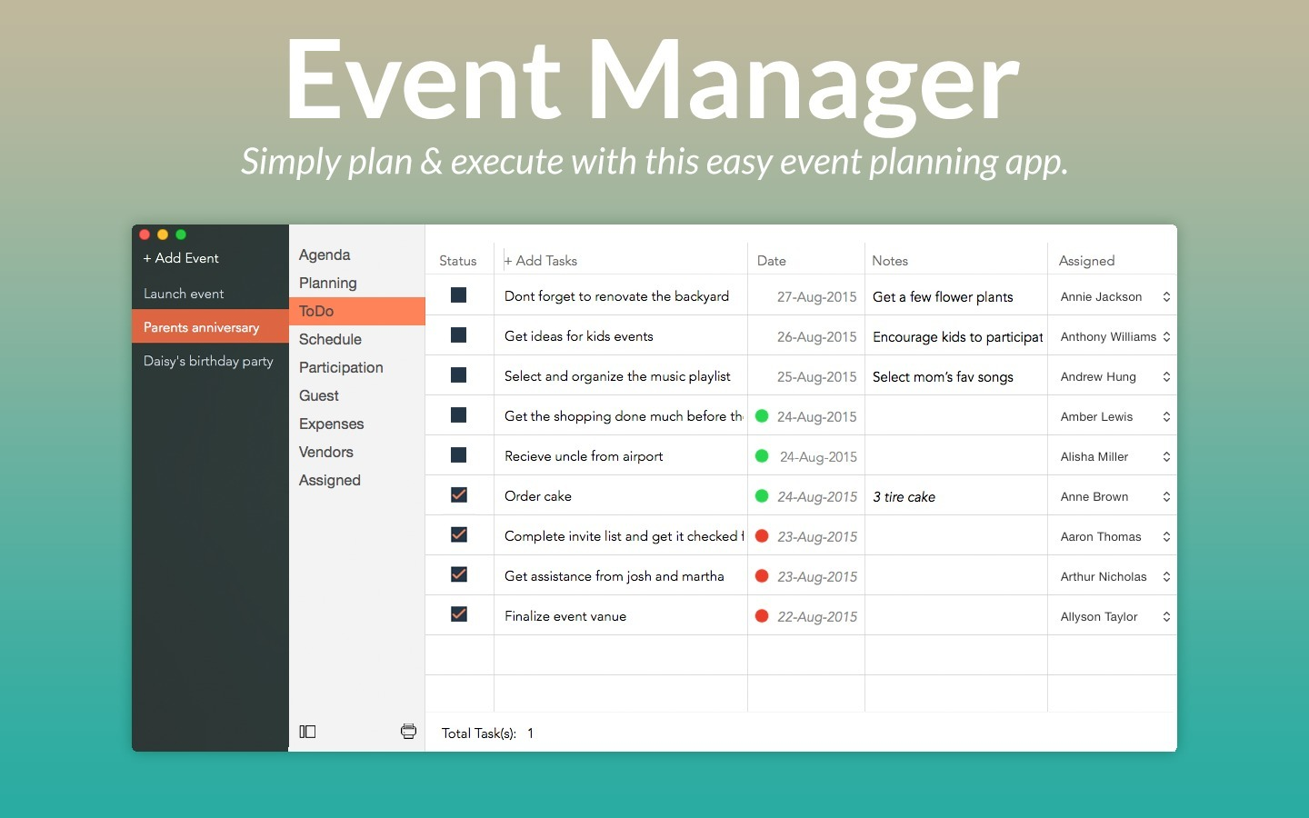 Screenshot 1 for Event Manager