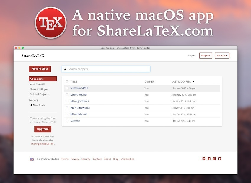 Screenshot 1 for Native-ShareLaTeX