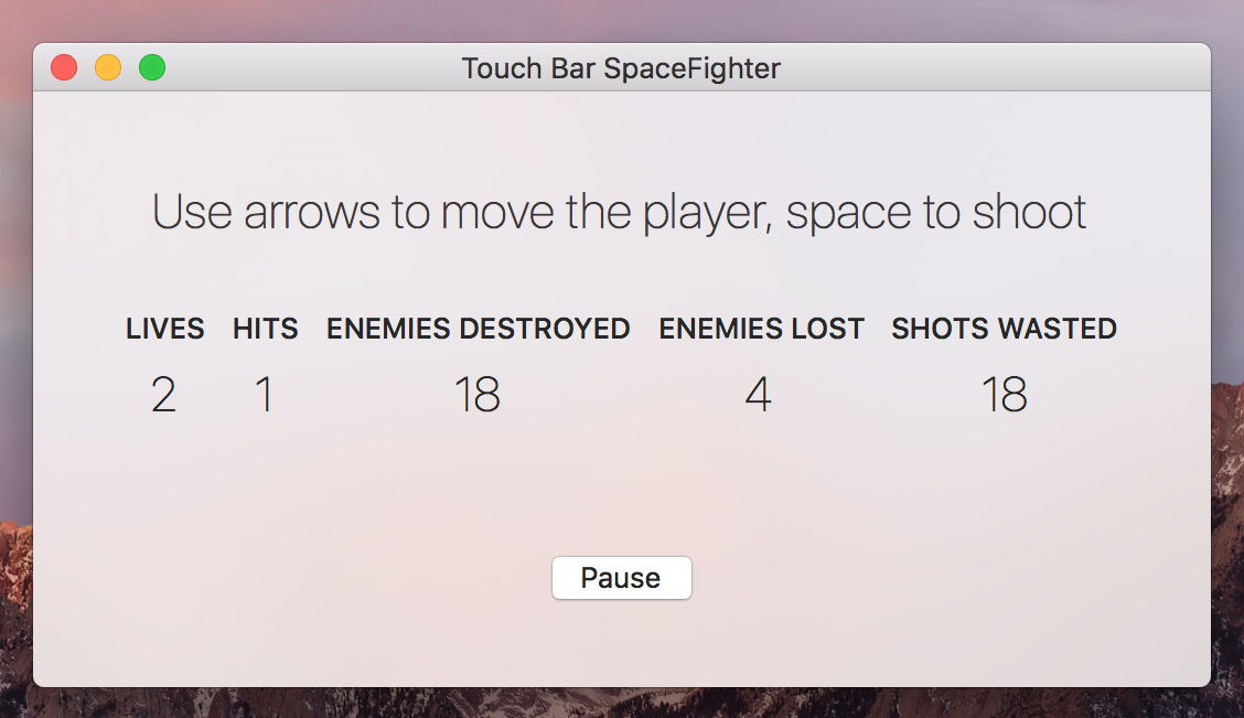 Screenshot 1 for TouchBarSpaceFight