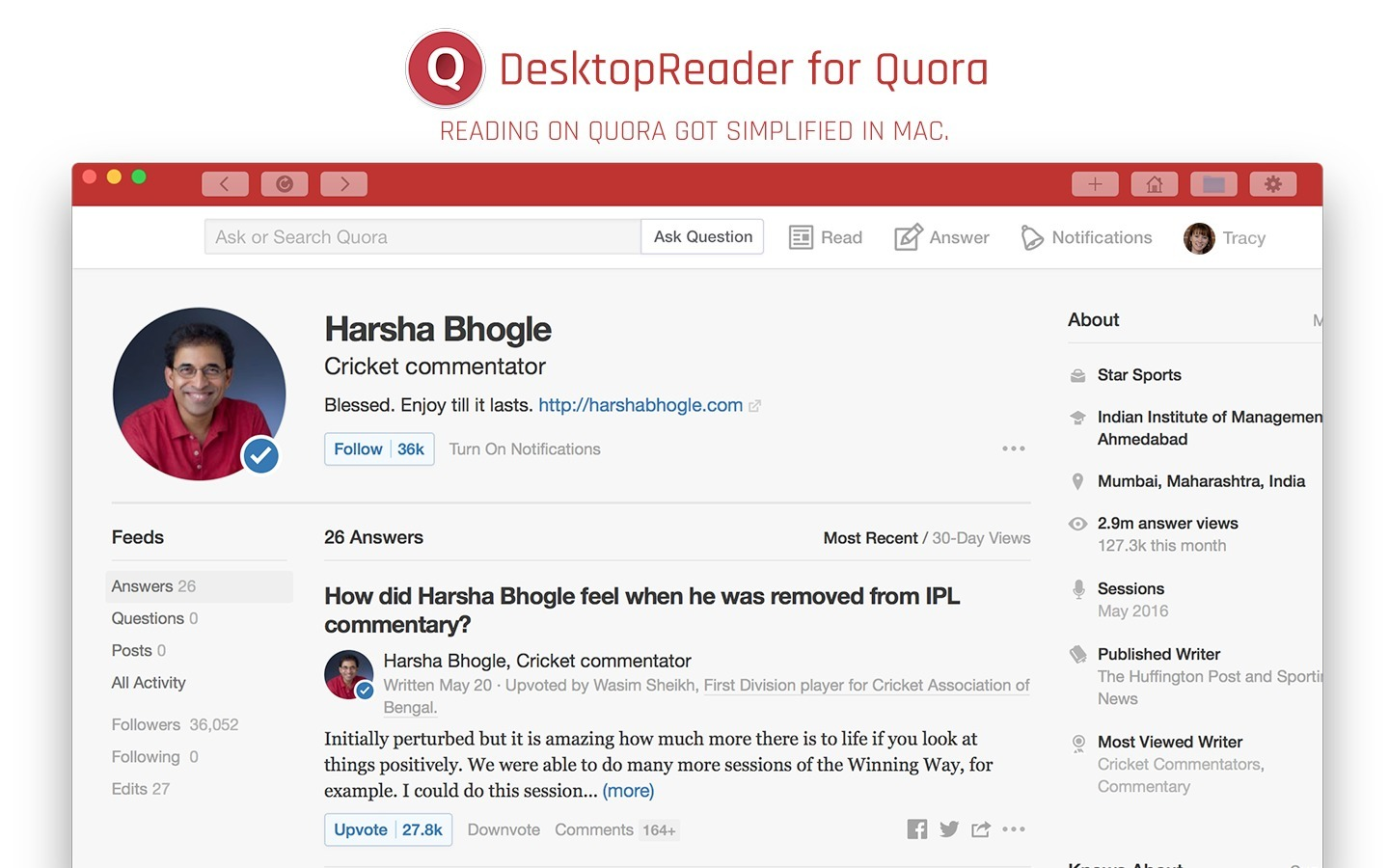 Screenshot 1 for DesktopReader for Quora