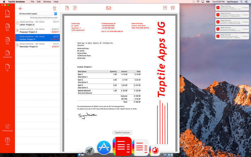 Screenshot 1 for Taptile Invoices