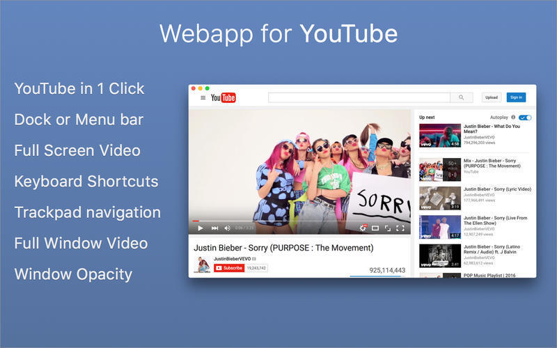 Screenshot 1 for Webapp for YouTube