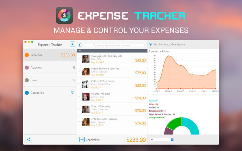 Screenshot 1 for Expense Tracker