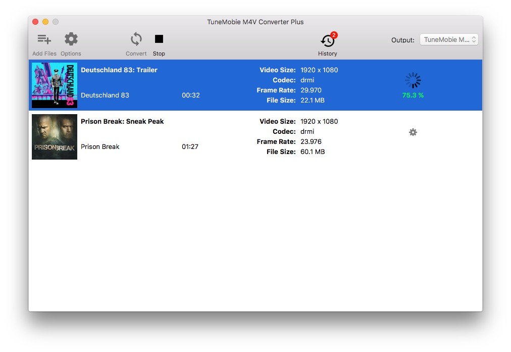 Screenshot 3 for TuneMobie M4V Converter Plus