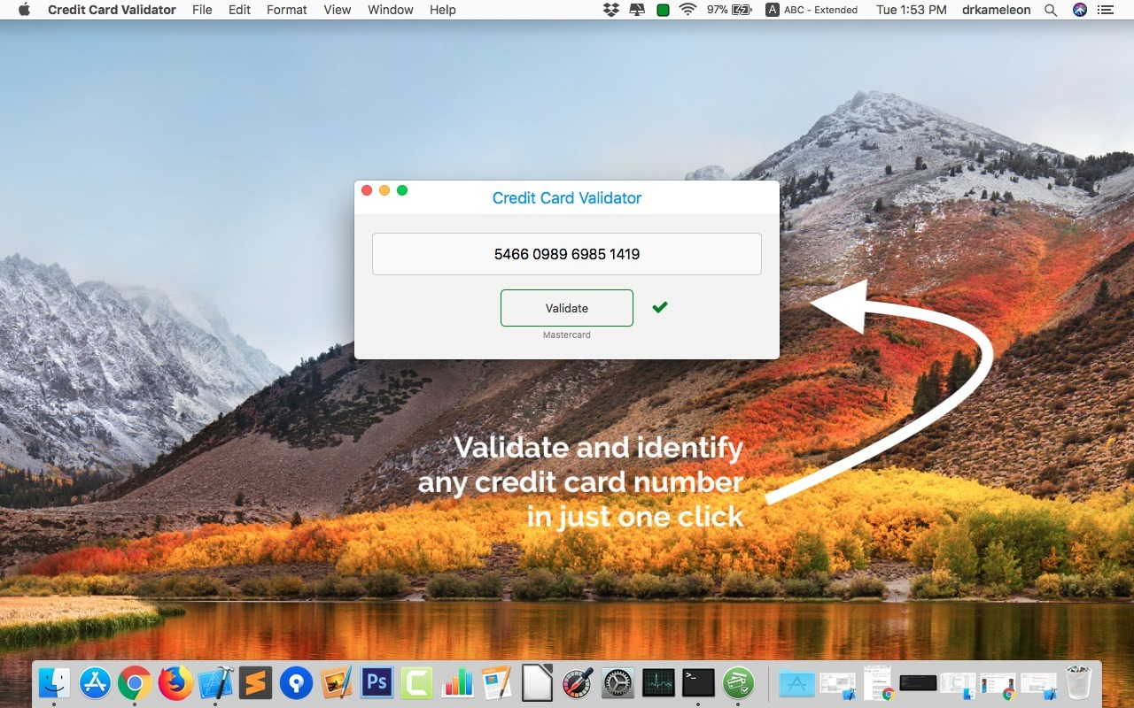 Screenshot 1 for Credit Card Validator