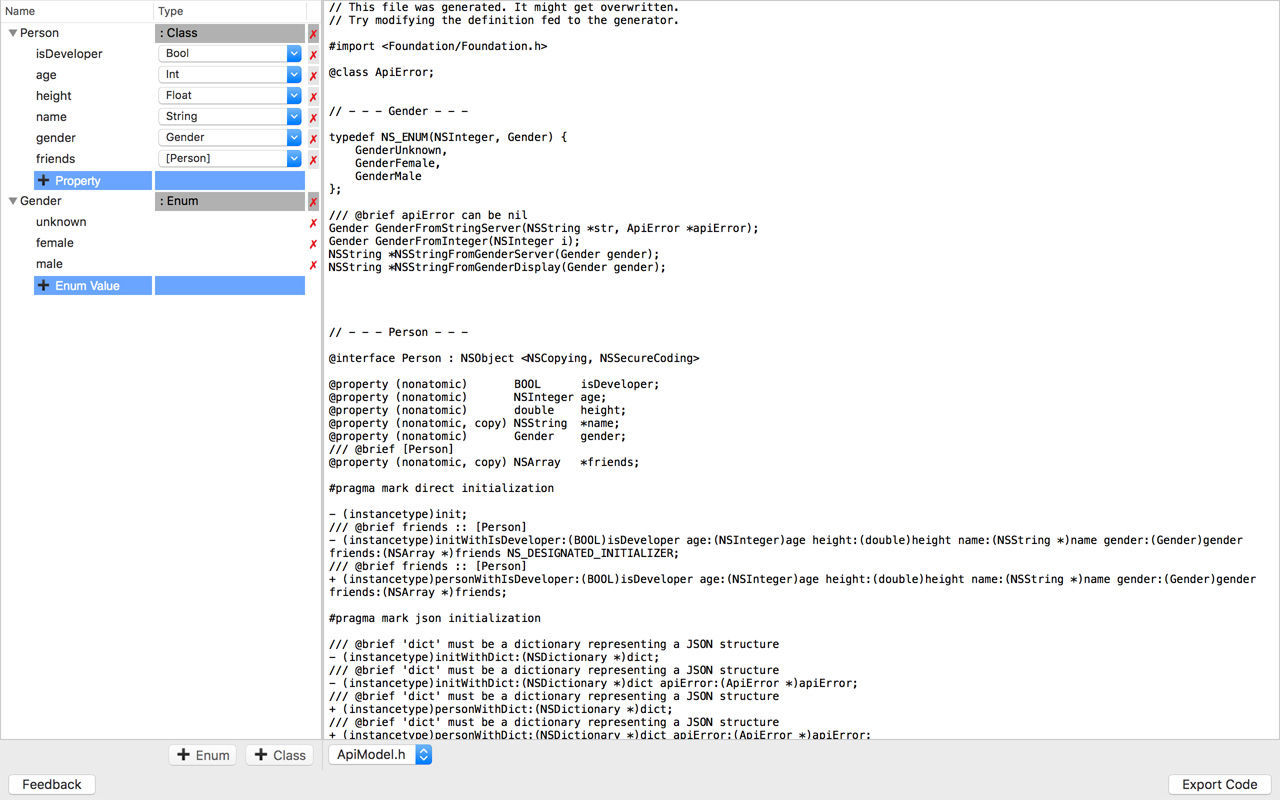 Screenshot 1 for JSON Class Generator