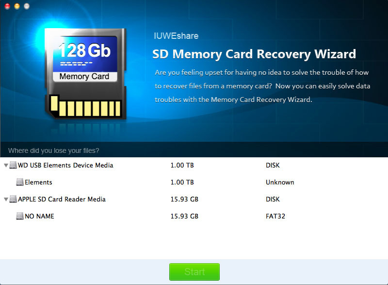 Screenshot 1 for SD Memory Card Recovery Wizard