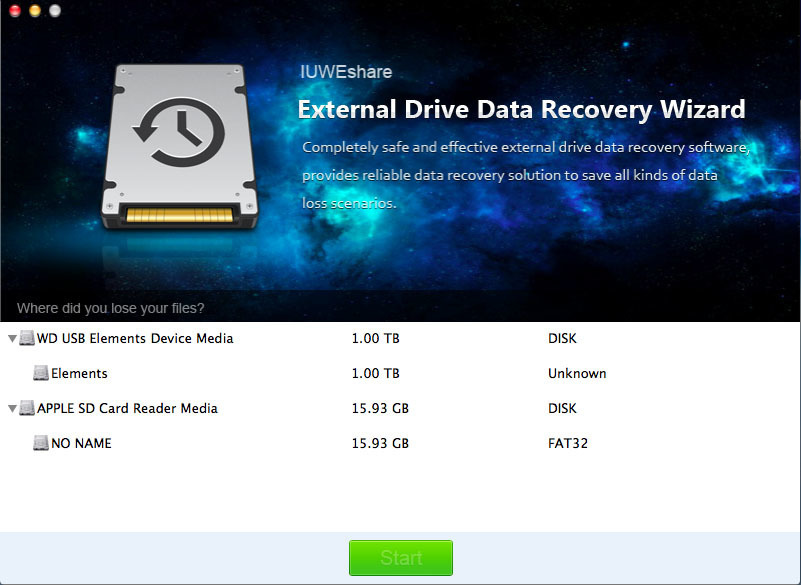 Screenshot 1 for External Drive Data Recovery Wizard