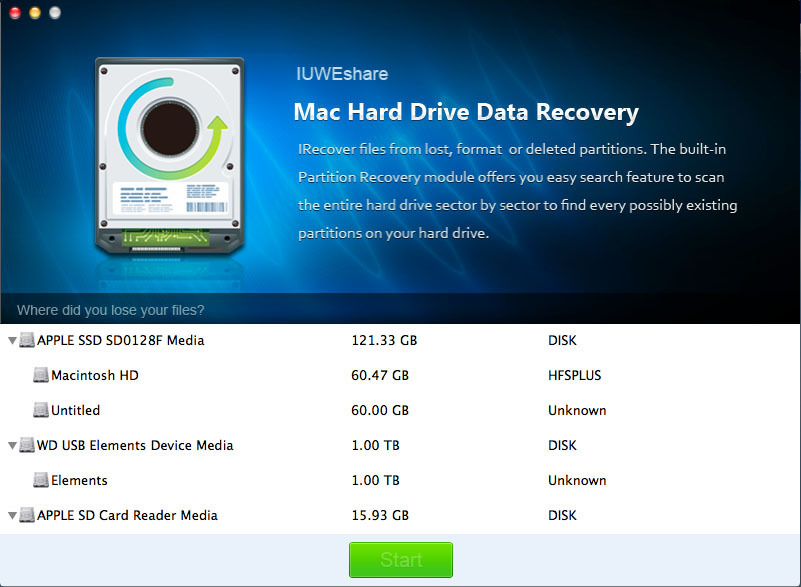 Screenshot 1 for Hard Drive Data Recovery