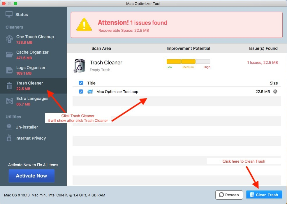 Screenshot 1 for MacOptimizer Tool