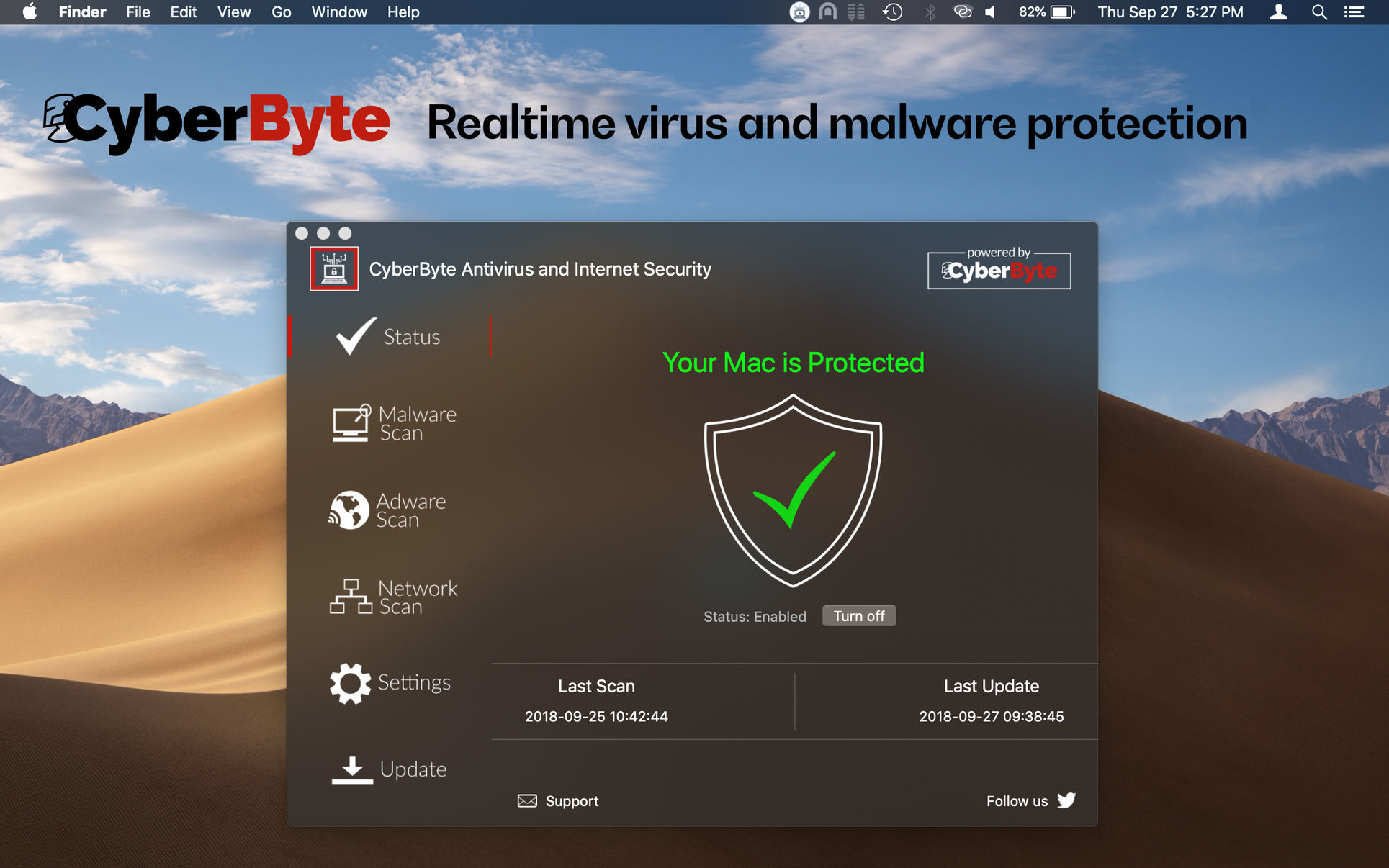 Screenshot 1 for CyberByte Antivirus