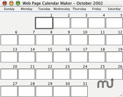 Screenshot 1 for Web Page Calendar Maker