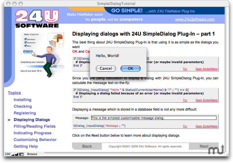 Screenshot 1 for 24U SimpleDialog Plug-In