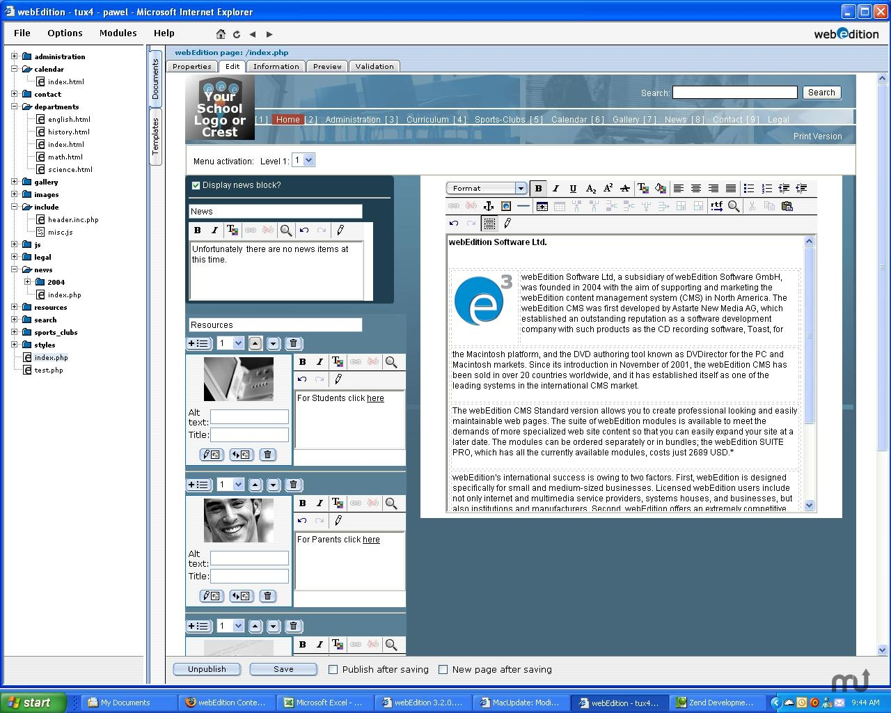 Screenshot 1 for webEdition