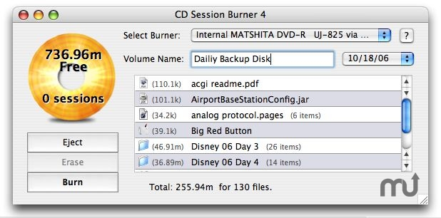 Screenshot 1 for CD Session Burner