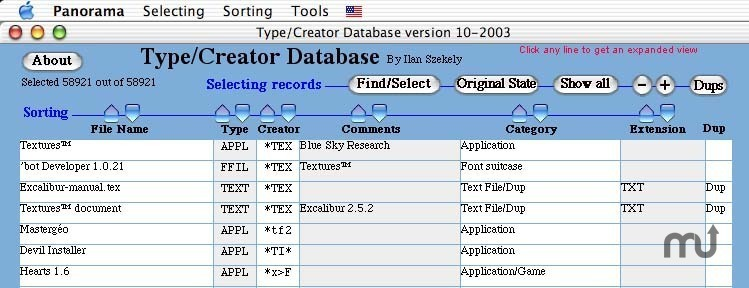 Screenshot 1 for Type/Creator Database