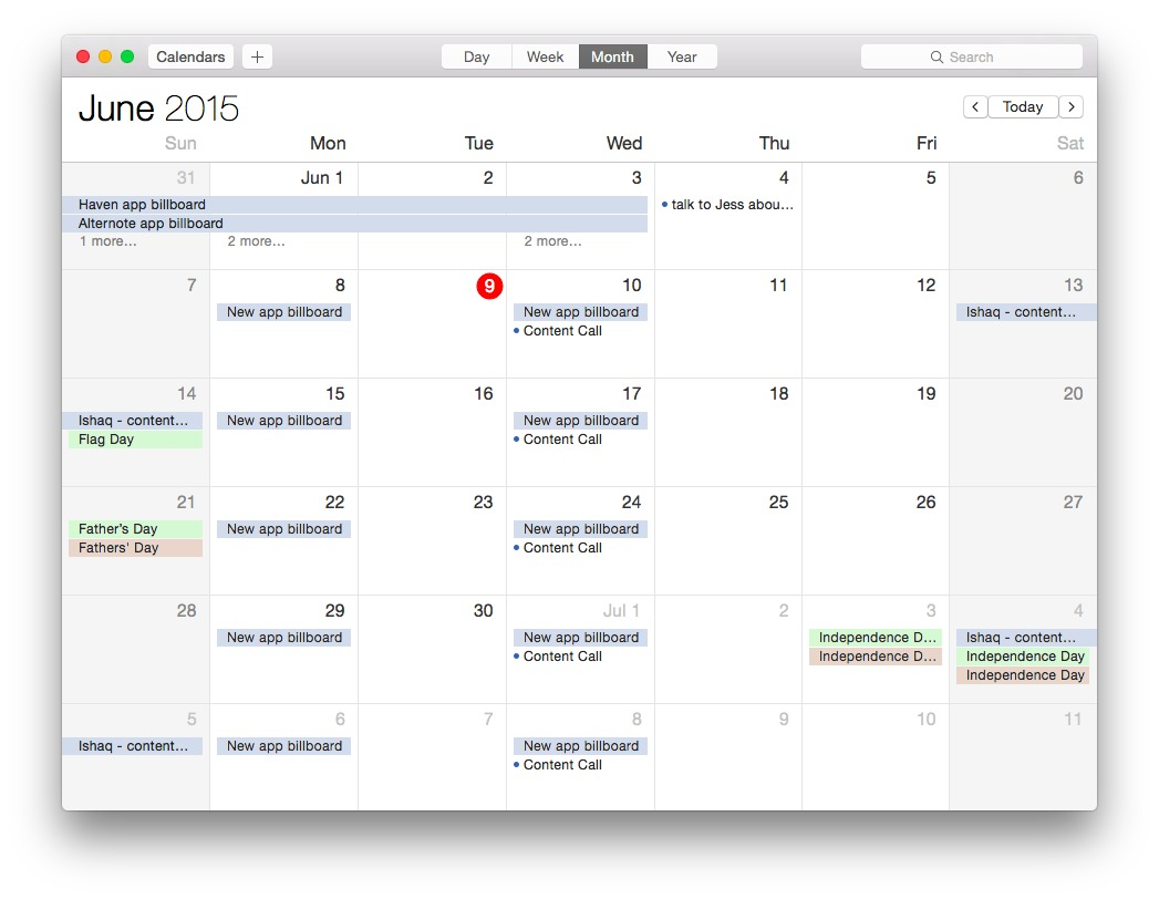 Screenshot 1 for Apple Calendar